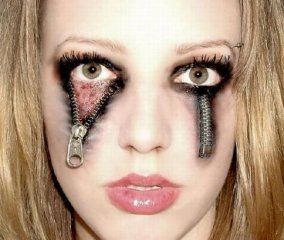 Zipper Eyes Haloween Makeup Sexy Scary