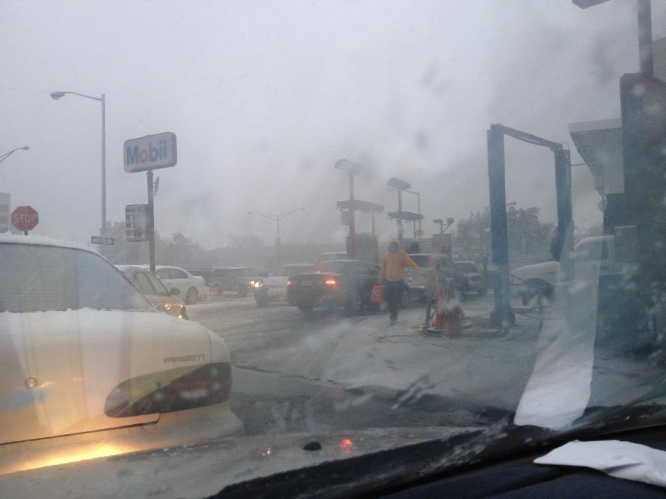 New York City Gas Station after Hurricane Sandy